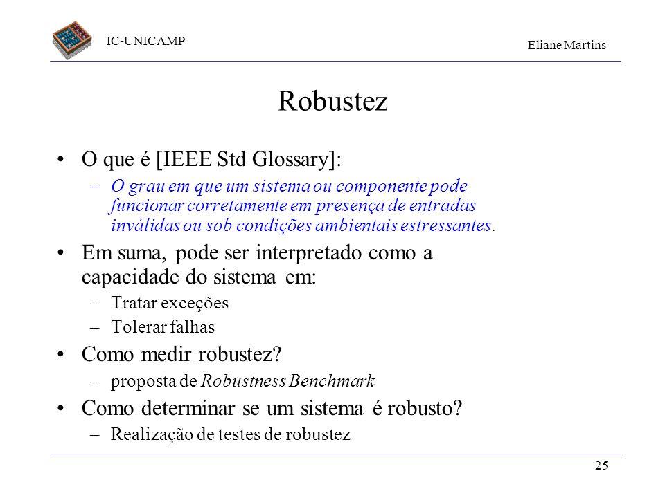 Robustez O que é [IEEE Std Glossary]: